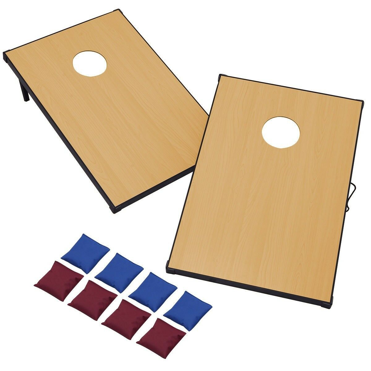 New 47  Folden Wooden Bean Bag Toss Cornhole Game Set of 2 Boards and 8 Beanbags