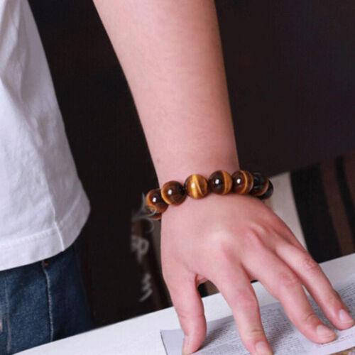 Naturel rouge oeil de tigre pierre unisexe hommes de Perles Rondes Extensible Bracelet Bangle