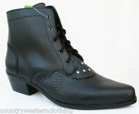 Ladies Black Leather Line Dancing Ankle Boots Shoes Cowboy Western Style Georgia