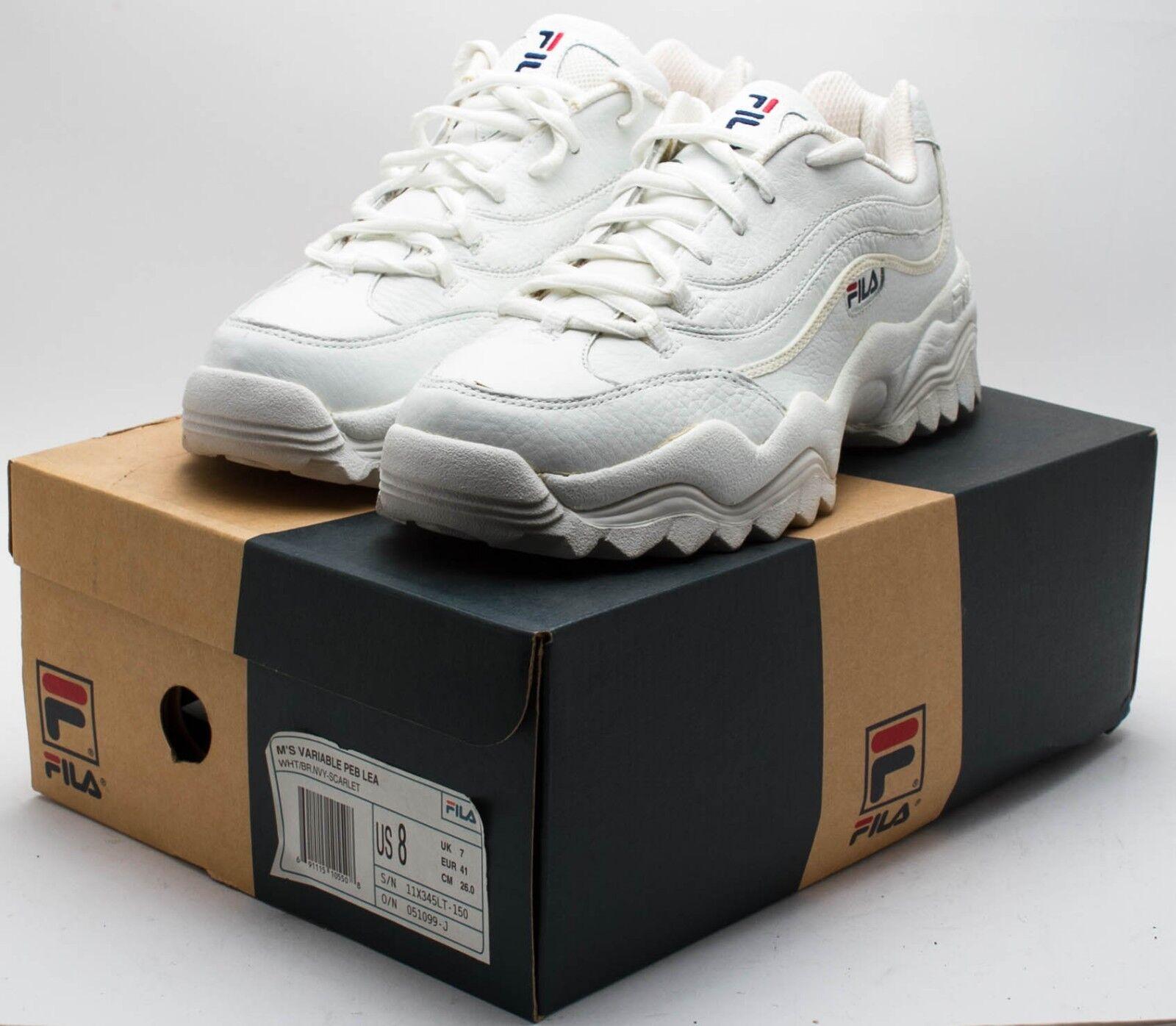 Scarpe casual da uomo Fila Vintage 1990s Variable Peb Lea shoes 11X345LT-150 White sz. 8