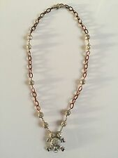 SHOPBOP Skull and Bones Charm Necklace Sterling Silver 925 Rose Gold Diamonds