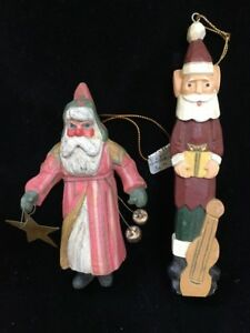 Vintage-Pair-Of-Wood-Wooden-Santa-Hand-Carved-Christmas-Ornaments-Folk-Art