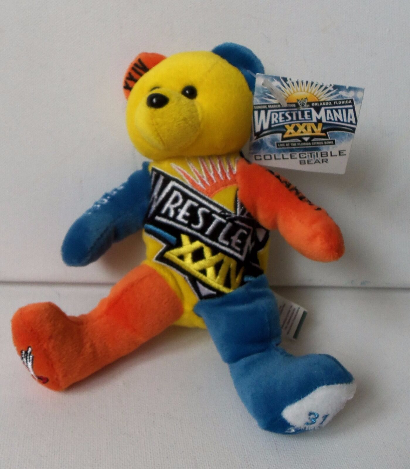 WWE Collectible Plush Teddy Bear Wrestlemania 24th Limited Edition Toy 1 of 5000