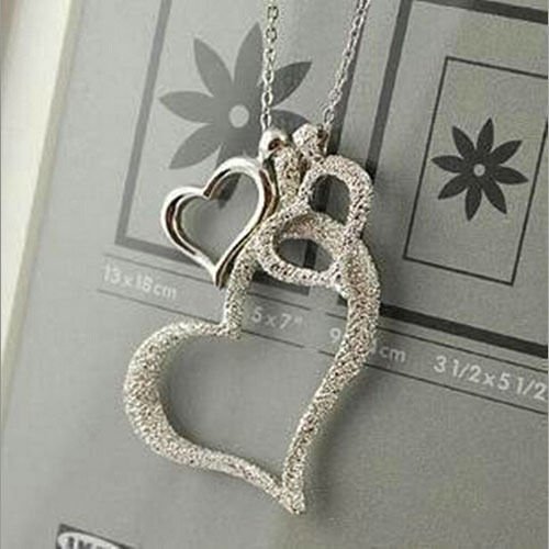 CreativeThree Hearts Pendant Necklace Silver Plated Long Chain Fashion Jewelry