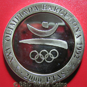 1990-SPAIN-2000-PESETAS-SILVER-PROOF-1992-BARCELONA-OLYMPICS-SYMBOLS-REEDED-EDGE