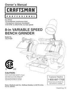Amazing Details About Craftsman 152 211620 Bench Grinder Owners Instruction Manual Ibusinesslaw Wood Chair Design Ideas Ibusinesslaworg