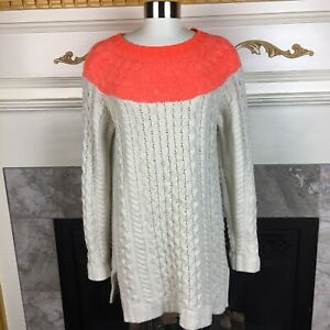 BODEN-Womens-US-2-Ivory-Neon-Orange-Cable-Knit-Long-Tunic-Wool-Alpaca-Sweater