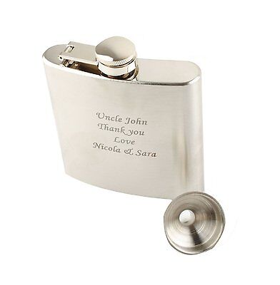 Personalized Engraved 6oz Hip Flask Funnel Stainless Steel Gift Wedding Usher