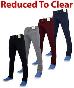 Mens-Jeans-Ajustados-Slim-Fit-Denim-Sarga-de-algodon-elastico-Pantalones-Chinos-Pantalones
