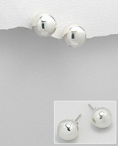 Classic 12 mm Solid Sterling Silver Ball Stud Boucles d/'oreilles 4.2 g Heavy Duty dos