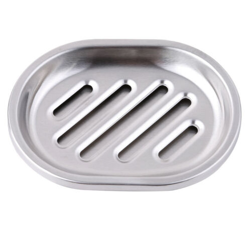 Bathroom Stainless Steel Soap Dish Storage Holder Soapbox Plate Tray Drain Hot