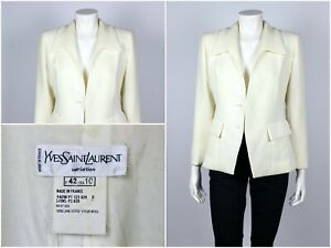 Womens-Vintage-80s-Yves-Saint-Laurent-Variation-Blazer-Jacket-Milk-Size-USA-10