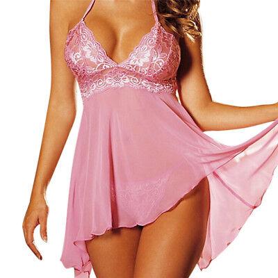 Plus Size Women Sexy Lingerie Lace Dress Underwear Babydoll Sleepwear+G-stringZP