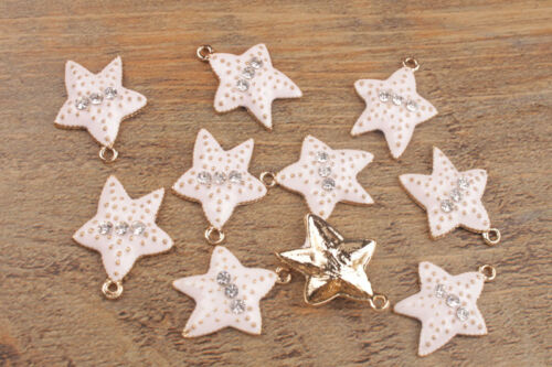 10PCS Fashion Enamel Rhinestone Starfish Charms