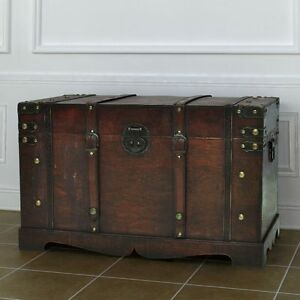 Image Is Loading Wood Treasure Chest Vintage Storage Trunk Antique Pirate