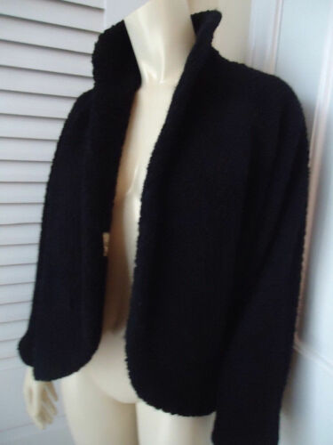 bouclée 60 noire en des rétro Glenhaven doublure texturée M Manteau Vintage laine Wrap années WZFwxzWfqY