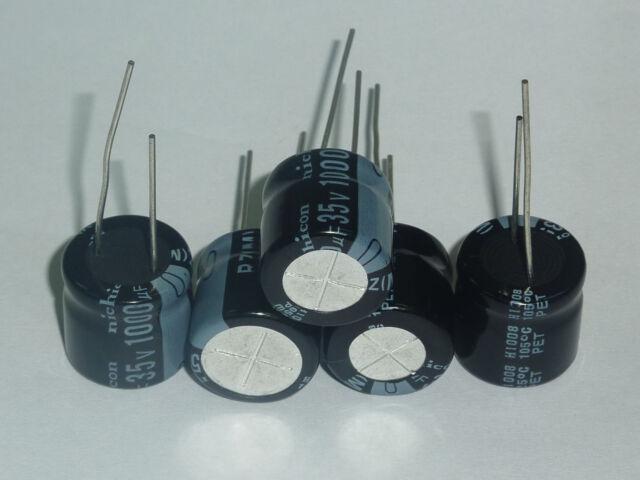 20Pcs 35v 1000uF 35V RZ Nichicon Wide temp electrolytic Capacitor 16x15mm 105