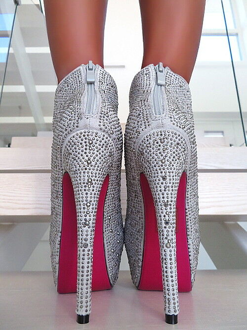 HOHE STIEFEL grey SEXY DAMEN SCHUHE STRASS W93 ANKLE BOOTS BOOTS BOOTS STILETTO HIGH HEEL 37 97e9f3