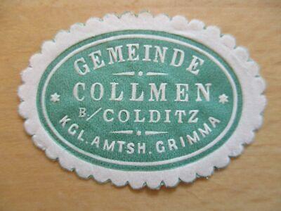 Gemeinde Collmen B Siegelmarke Grimma Gute WäRmeerhaltung 21081 Colditz Amtsh