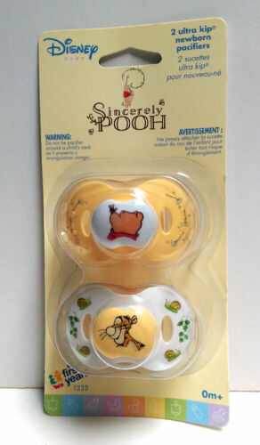 Months Yellow White NIP Disney Sincerely WINNIE THE POOH 2 pcs Baby Pacifiers 0