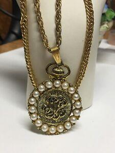 Vintage-Gold-Tone-Necklace-Faux-Pearls-Monogram-Pendant-24-034-Long