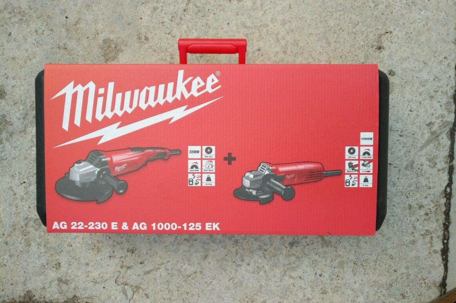 Milwaukee Winkelschleifer-Set  AG 22-230 (230mm) + AG 1000-125 (125mm) im Koffer