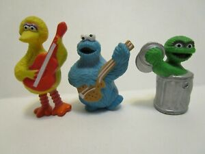 VINTAGE-1982-TARA-TOYS-SESAME-STREET-BIG-BIRD-COOKIE-MONSTER-amp-OSCAR-PVC-FIGURES