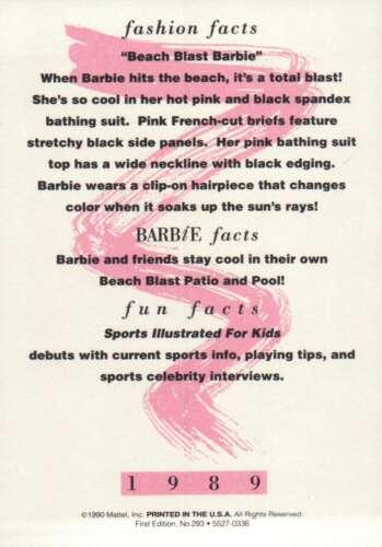 """Barbie Collectible Fashion Card  /"""" Beach Blast Barbie /""""  1989"""