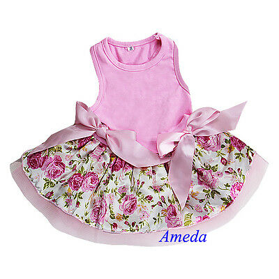 Light Pink Rose Flower Pink Ribbon Party Dress Pet Dog Cat Clothes XS S M L