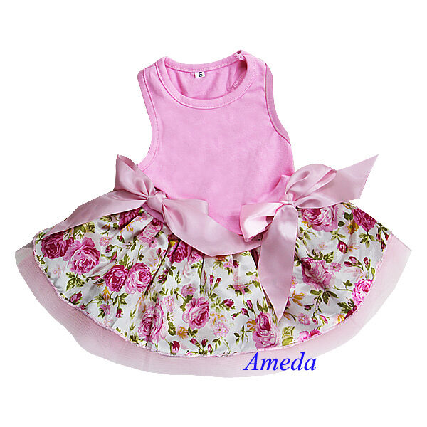 Light Pink Rose Flower Pink Ribbon Party Dress Pet Dog Cat Clothes XS S M L