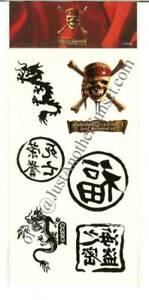 Pirates Of The Caribbean Temporary Tattoos Asian Dragon Ebay
