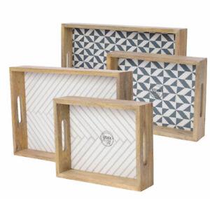 2er-Set-Tablett-Mangoholz-Dekotablett-Serviertablett-Holztablett-Vintage-Shabby
