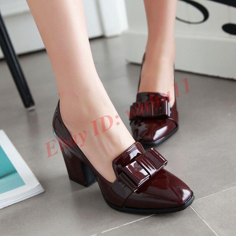 Womens Square Toe Sweet Bowknot Dress OL Shoes High Block Heel Slip On Pumps