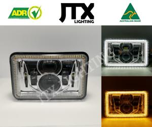 JTX-1-Pair-Chrome-LED-Headlights-4x6-034-White-Halo-Flashes-Amber