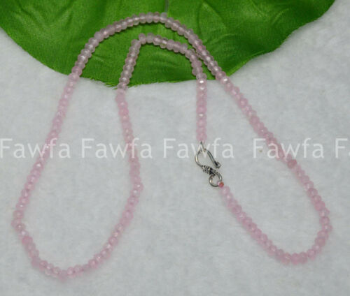 Fine 2x4mm Pink Jade Faceted Roundel Gems Beads Necklace Silver Clasp AAA+