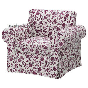 New Ikea Cover For Ikea Ektorp Chair Floral Hovby Lilac Armchair Slipcover Ebay