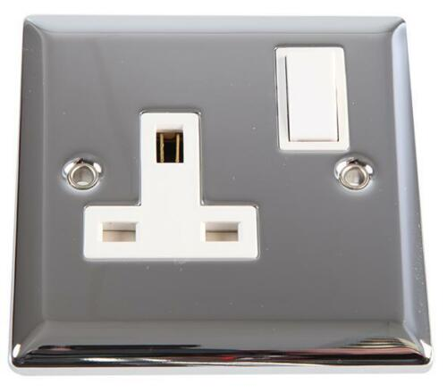 1 Gang DP 13A Angled Edge Switched Socket, Polished Chrome / White