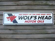 "WOLF'S HEAD OIL C.1970's VINTAGE STYLE 1'X46"" METAL DEALER SIGN-GARAGE ART"