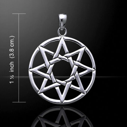 Eight Pointed Elven Star .925 Sterling Silver Pendant by Peter Stone