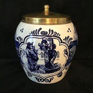 Vintage-Delft-Tobacco-Jar-With-Brass-Lid-034-Van-Rossem-039-s-Toeback-Anno-1750-034