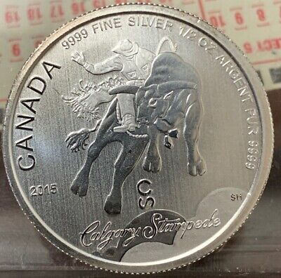 2015 Calgary Stampede Canadian Coin 1 2 Troy Oz 9999 Fine