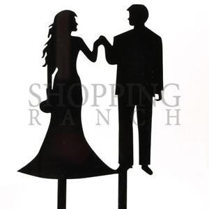 Wedding Cake Topper Bride & Groom Holding Hands Romantic Black Acrylic Decoratio 6440526812987