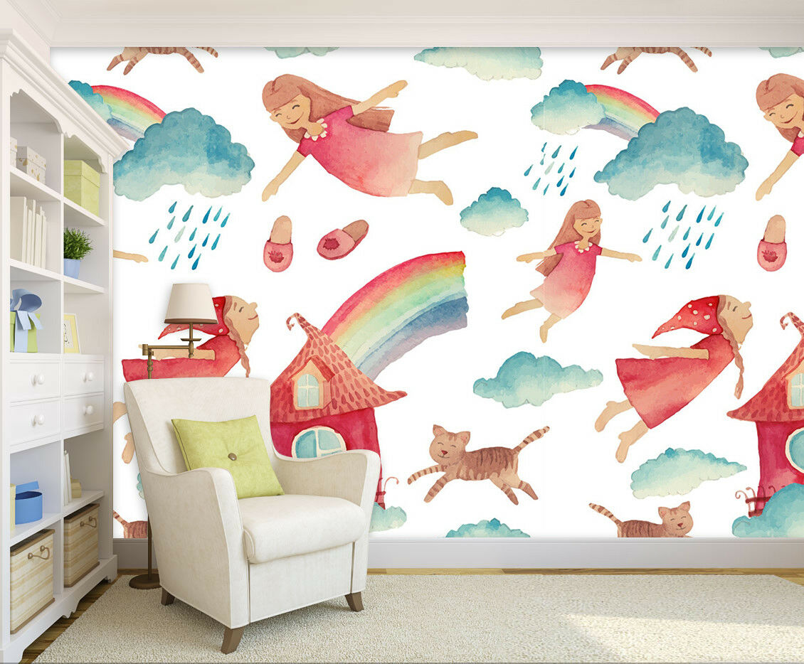 3D 3D 3D Girl Rainbow 846 Wallpaper Mural Wall Print Wall Wallpaper Murals US Lemon 6df881