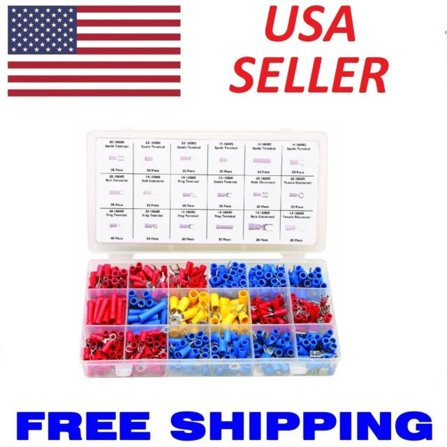 520 Pc Wire Terminal Kit Spade Butt Ring electrical Connector splice 22-10 gauge