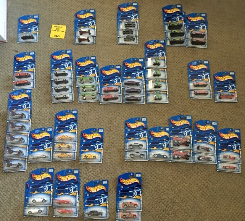 Hot Wheels 2001 First Editions With Doubles Lot Of 58 Cars -- 020