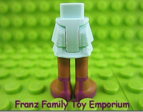 New LEGO Legs Dark Flesh Aqua Ruffled Skirt Magenta Shoe Female Friend Body Part