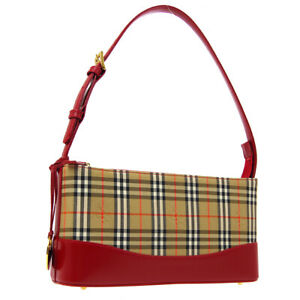 BURBERRY House Check Hand Bag Beige Red Canvas Leather Authentic JT09428