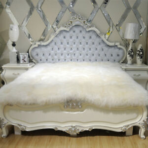 100-Pure-Sheepskin-bed-mat-79-X-90-inch-Bed-Thick-Fur-Wool-Plush-Blanket-Throw