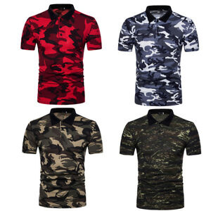 c0a279a35061 Men s Casual Tops Polo T Shirts Camouflage Clothing Basic Tee Floral ...