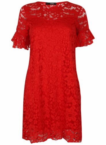 Ladies Ex Quiz Red Lace Floral Shift Evening Short Sleeve Tunic Dress Size 8-16